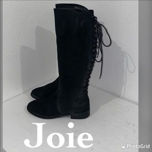 Auth Joie tall distressed black leather boots 8.5